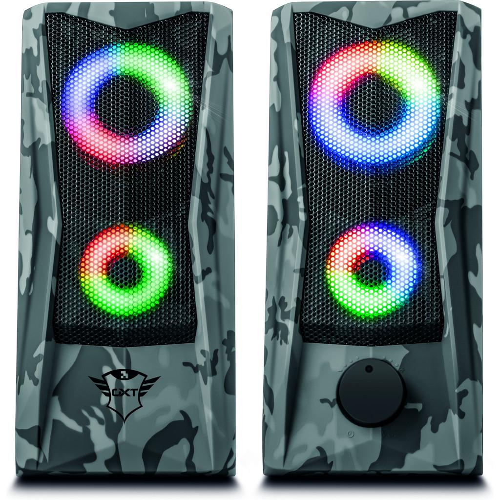 Trust Gaming GXT 606 Javv RGB beleuchtete 2.0 Pc Speaker - Grau Camo 23379