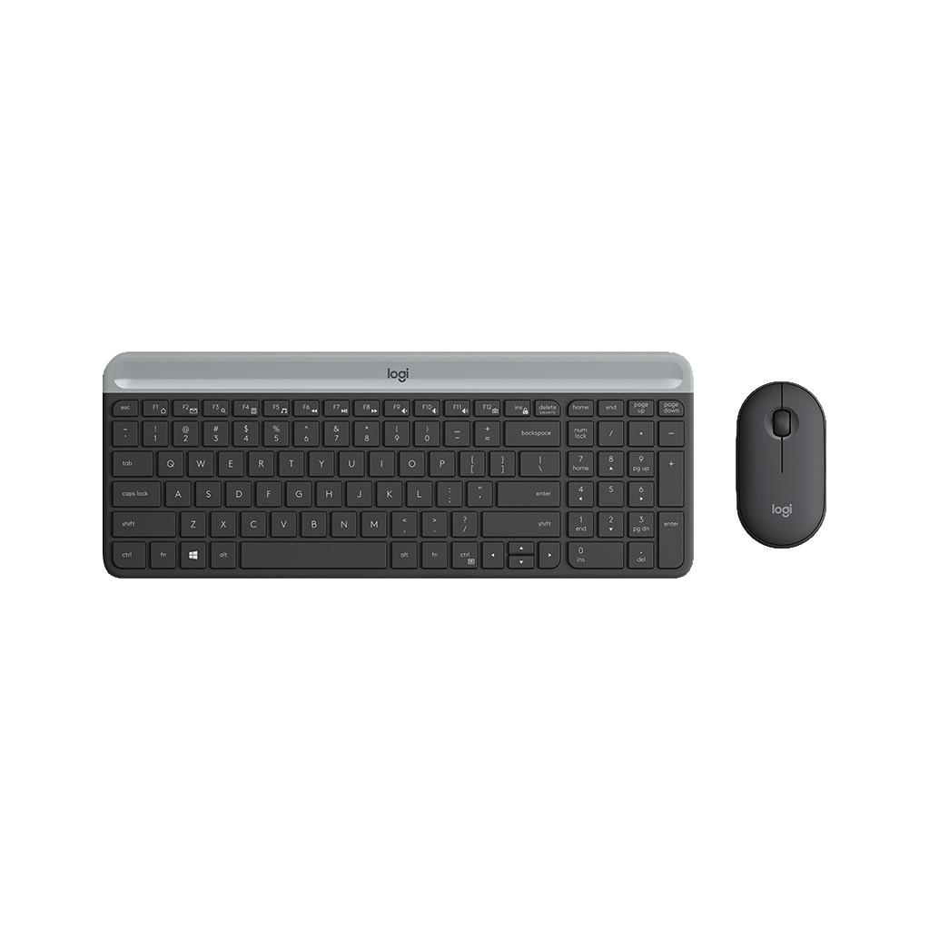 Logitech G Logitech MK470 Slim kabellose Tastatur und Maus Grau QWERTZ 920-009188