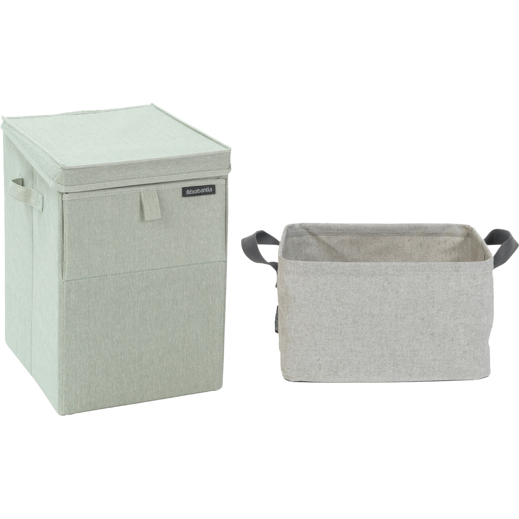 Brabantia Wäschebox Grün + zusammenklappbarer Wäschekorb 35 Liter