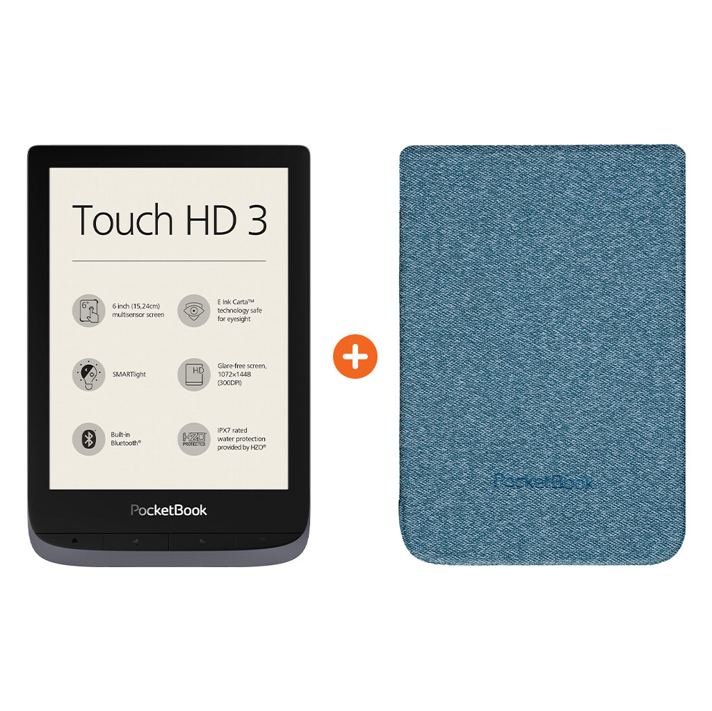 Pocketbook Touch HD 3 Grau + Pocketbook Shell Touch HD 3 Blau