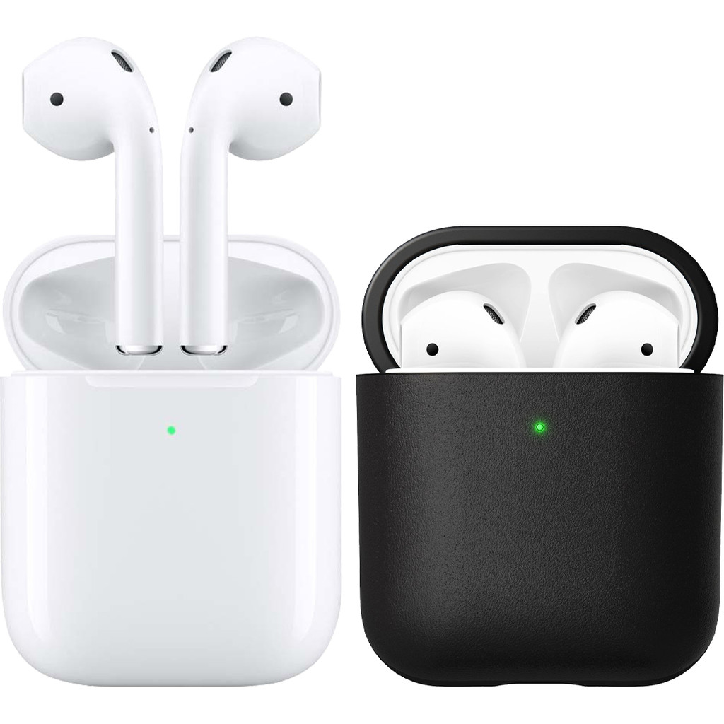 Apple AirPods 2 mit kabellosem Ladecase + Hülle