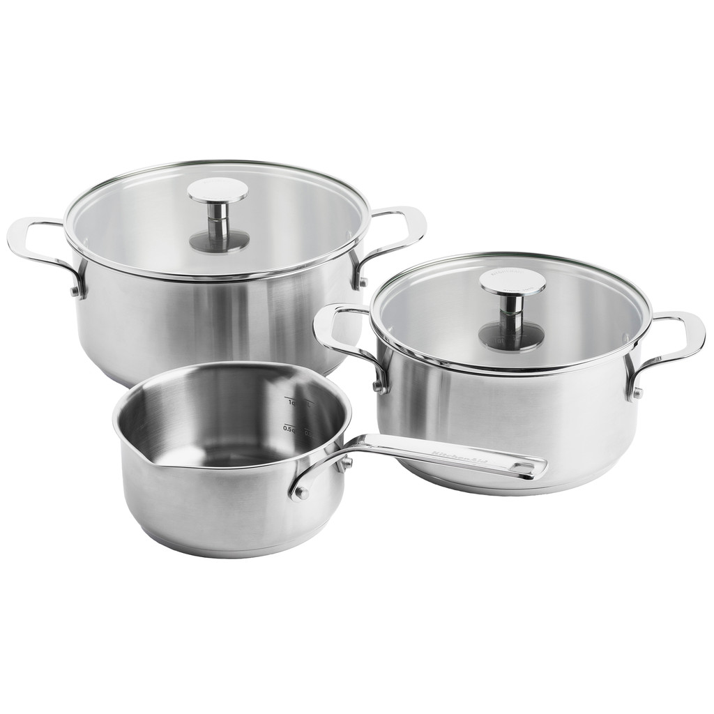 KitchenAid Stainless Steel 3-teiliges Kochtopfset CC003630-001