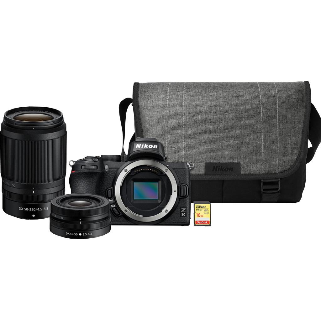 Nikon Z50 + 16¿50 mm + 50¿250 mm + Tasche + 16-GB-Speicherkarte VOA050K007