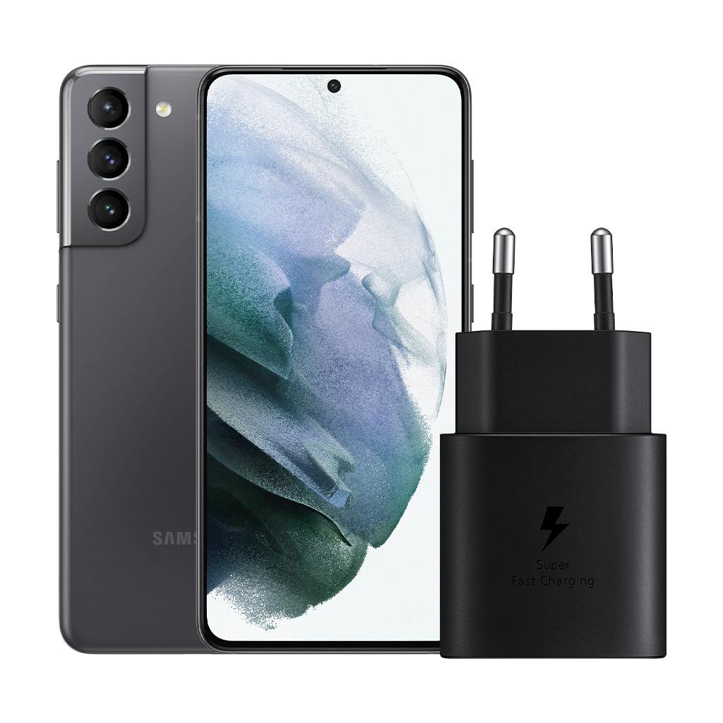 Samsung Galaxy S21 128 GB Grau 5G + Samsung Schnelladegerät ohne Kabel 25 W