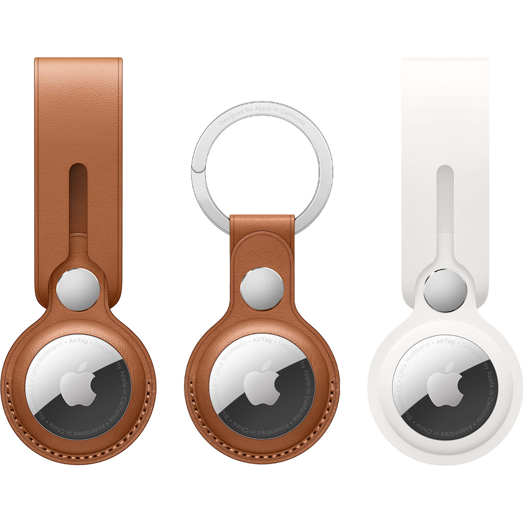Apple AirTag Anhänger 2er-Pack + Leder-Schlüsselanhänger