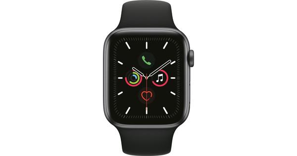 Apple Watch Series 5 44mm Space Grau Aluminium Schwarzes Sportarmband