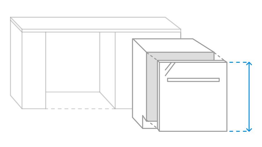 Bild der zu messenden Frontblende einer vollintegrierten Spülmaschine