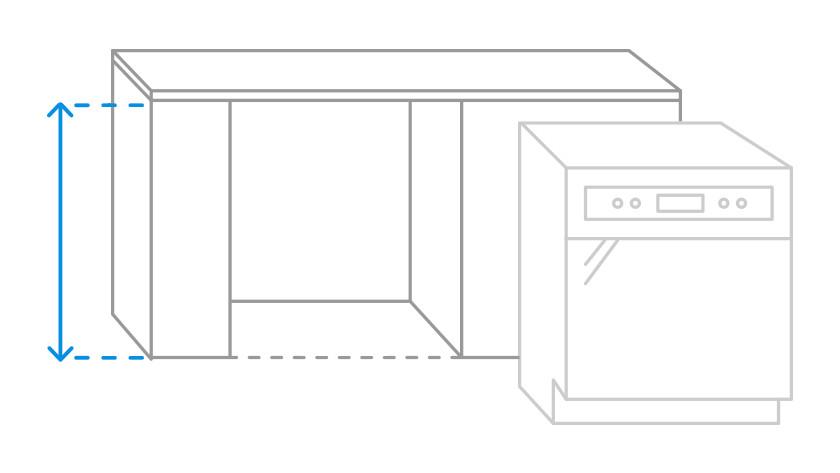 Bild der zu messenden Nischenhöhe für die Spülmaschine