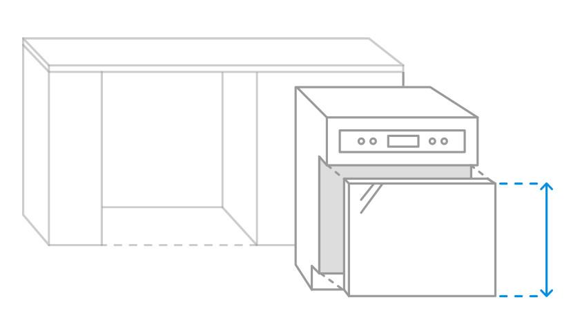 Bild der zu messenden Frontblende einer teilintegrierten Spülmaschine