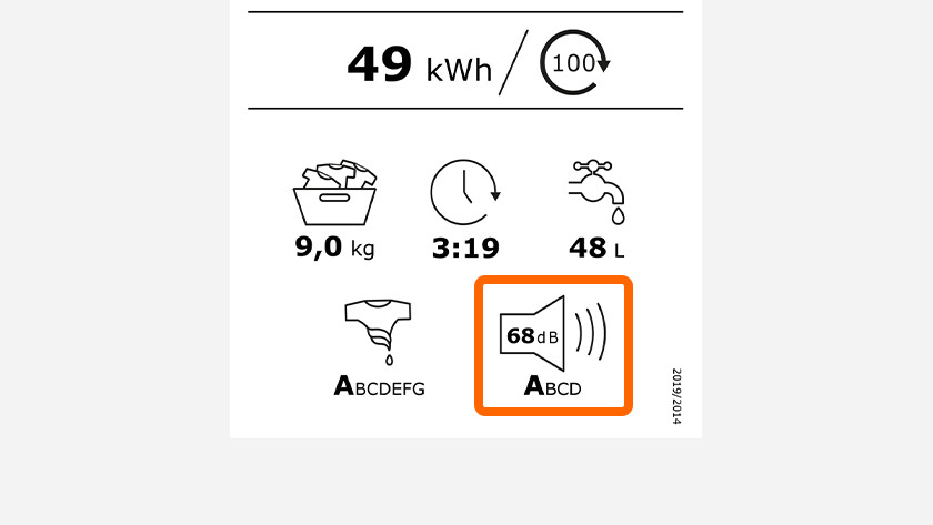 Energielabel mit Geräuschpegel einer Waschmaschine