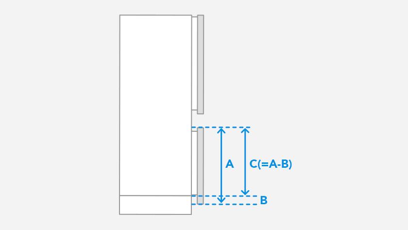 Unterste Türblende des Kühlschranks messen