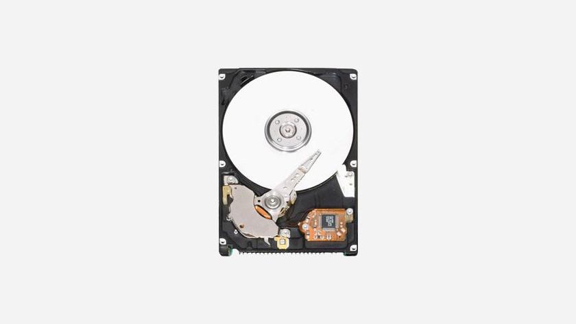Das Innere einer Festplatte. Die rotierenden Teile sind deutlich sichtbar.