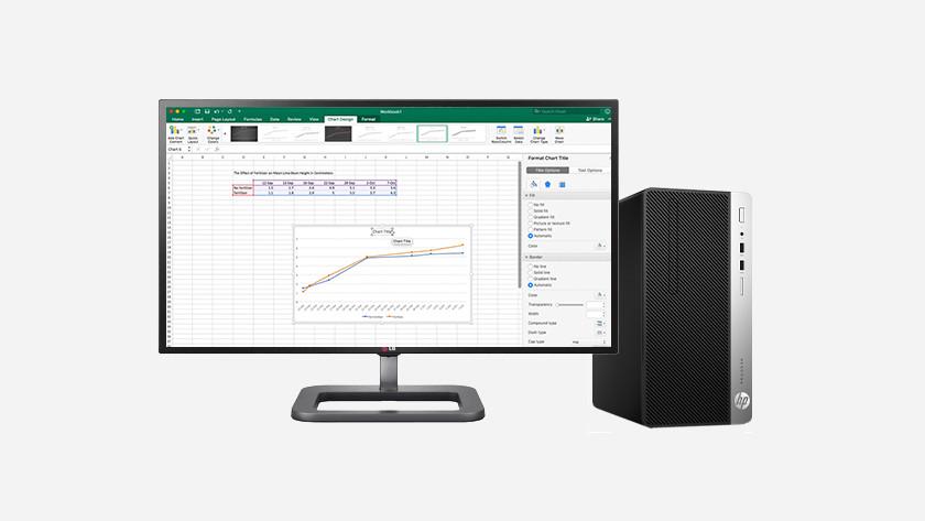 Excel auf dem HP PC-Monitor.