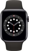 Apple Watch Series 6 44mm Space Grau Aluminium Schwarzes Sportarmband
