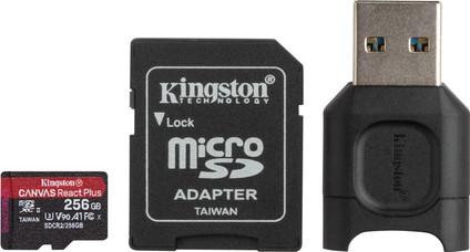 Kingston 256 GB microSDXC React Plus SDCR2 mit Adapter + MLPM