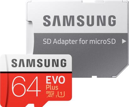 Samsung microSDXC EVO+, 64 GB, 100 MB/s, CL 10 + SD-Adapter