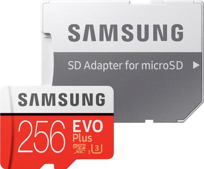 Samsung microSDXC EVO+, 256 GB, 100 MB/s, CL 10 + SD-Adapter