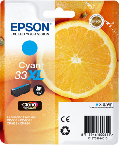 Epson 33XL Cartridge Cyan Main Image