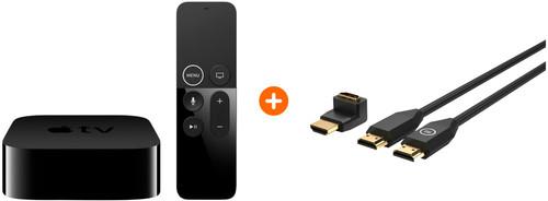 Apple TV 4K, 64 GB + BlueBuilt HDMI-Kabel, Nylon, 1 Meter, Schwarz + 90-Grad-Adapter Main Image