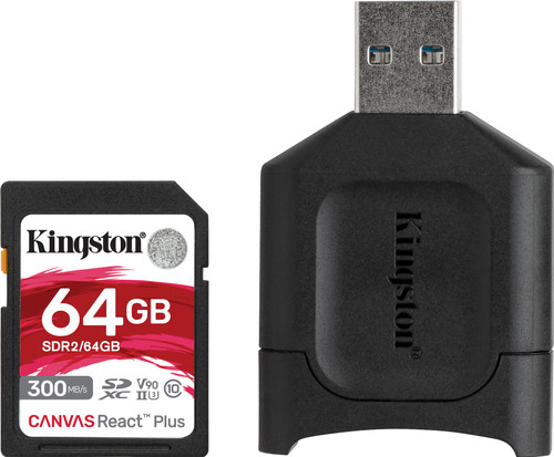 Kingston 64 GB SDXC React Plus SDR2 + MLP SD-Reader Main Image
