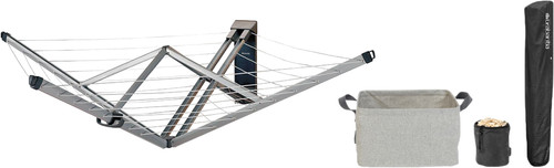 Brabantia Wandwäschetrockner mit Schutzhülle + Wäschekorb + Wäscheklammerntasche Main Image