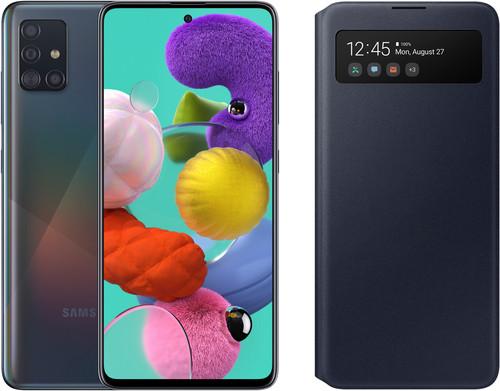 Samsung Galaxy A51 Schwarz + Samsung S View Wallet Cover Schwarz Main Image