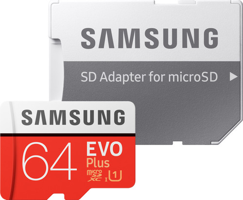 Samsung microSDXC EVO+, 64 GB, 100 MB/s, CL 10 + SD-Adapter Main Image