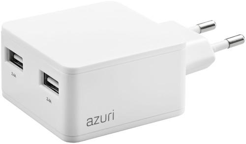 Azuri Ladegerät ohne Kabel, 2 USB-Anschlüsse 12 W in Weiß Main Image