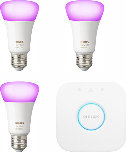 Philips-Hue-Starterset ¿ weißes/farbiges Licht ¿ E27 ¿ 3 Lampen Main Image