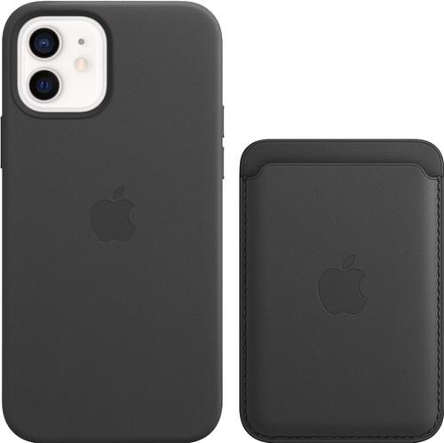 Apple iPhone 12 / 12 Pro Back Cover mit MagSafe Leder Schwarz + Leder-Kartenhalter mit Mag Main Image