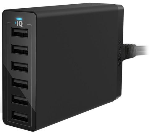 Anker PowerPort 6 Ladegerät ohne Kabel mit 6 USB-Ports 12 W Schwarz Main Image