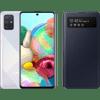 Samsung Galaxy A71 Silber + Samsung S View Wallet Cover Schwarz