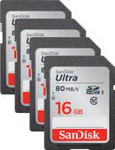 SanDisk SDHC Ultra, 16 GB, Class 10, Quad-Pack
