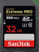 SanDisk SDHC Extreme Pro, 32 GB, 300 MB/s, C10 UHS-II