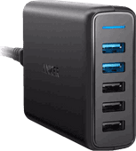 Anker PowerPort Speed Ladegerät 5 USB-Anschlüsse 18 W Quick Charge 3.0 in Schwarz