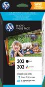 HP 303 Cartridges Combo Pack + 40 Blatt 10x50 Fotopapier