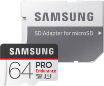 Samsung microSDXC PRO Endurance, 64 GB, 100 MB/s + SD-Adapter