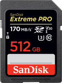 SanDisk SDXC Extreme, 512 GB, 170 MB/s