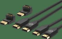 BlueBuilt HDMI-Kabel Nylon Doppelpack 1,5 Meter Schwarz + 90-Grad-Adapter