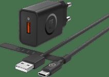 BlueBuild Ladegerät mit 1,5 m USB-C-Kabel 18W Quick Charge 3.0, Schwarz