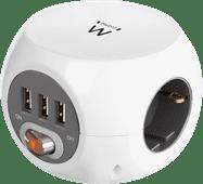 Ewent Steckdosenleiste mit 3 USB-A-Anschlüssen 1,5 m Weiß