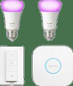 Philips Hue White & Colour-Starterpaket E27 mit 2 Lampen + 1 Dimmer