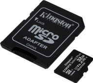 Kingston microSDHC Canvas Select Plus, 32 GB, 100 MB/s + SD-Adapter
