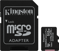 Kingston microSDXC Canvas Select Plus, 512 GB, 100 MB/s + SD-Adapter