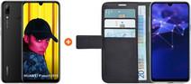 Huawei P Smart (2019) Schwarz + Azuri Wallet Case im Buchstil mit Magnetverschluss Schwarz