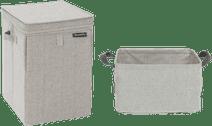 Brabantia Wäschebox Grau + zusammenklappbarer Wäschekorb 35 Liter