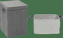 Brabantia Wäschebox Schwarz + zusammenklappbarer Wäschekorb 35 Liter