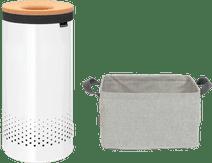 Brabantia Wäschebox 35 Liter  Kork, Weiß + zusammenklappbarer Wäschekorb 35 Liter