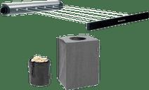 Brabantia Rollwäscheleine (Schwarz) + stapelbare Wäschebox+ Wäscheklammertasche