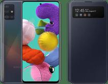 Samsung Galaxy A51 Schwarz + Samsung S View Wallet Cover Schwarz